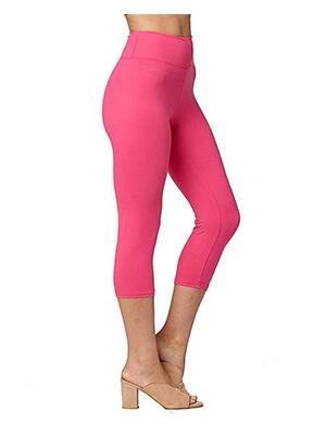 Womens Pink Capri Leggings